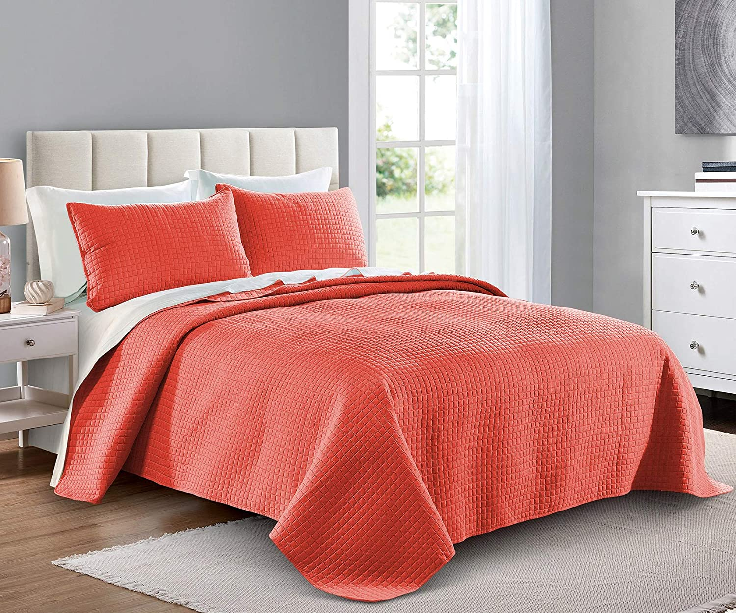 Quilt Set King Cal California Max 74% OFF - B Size Year-end annual account Coral Oversized