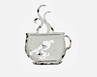 Hobbies, Gifts N More Antique White Metal Coffee Cup with Hanging Kit, Restaurant, Coffee Shop, or Wall Art for Kitchen, 12 1/8