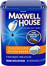 Maxwell House Original Medium Roast Coffee Filter Packs (40 Count, 4 Canisters of 10)