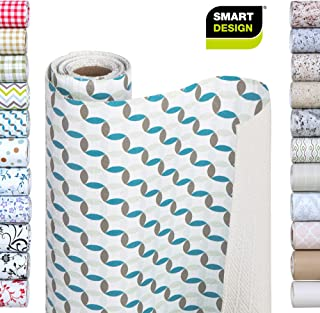 Smart Design Shelf Liner w/Bonded Grip - Wipes Clean - Cutable Material - Non Slip Design - for Shelves, Drawers, Flat Surfaces - Kitchen (12 Inch x 10 Feet) [Ocean Origami]