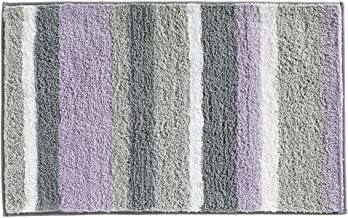 "InterDesign Microfiber Stripes Bathroom Shower Accent Rug - 34"" x 21"", Lavender/Gray"