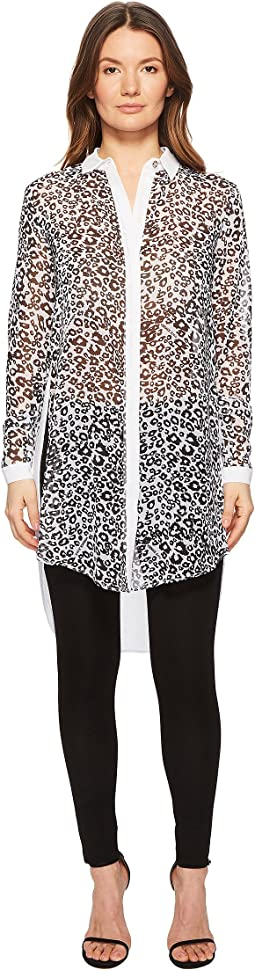 Sheer Button Up Animal Tunic