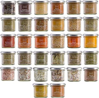 NOMU Cooks Collection Variety Set of 32 Herbs, Spices, Chilis, Salts and Seasoning Blends | Premium Gourmet Quality Range
