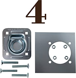 Four Recessed Tie-Down D Rings, Square Trailer Cargo Tiedown Anchors, Mounting Lock Plate + Installation Bolting Hardware Accessories - Carriage Bolts, Hex Nuts, Flat Washers