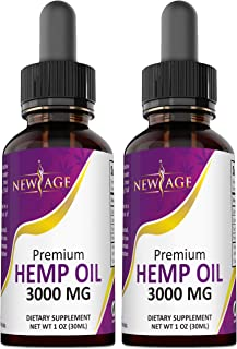 (2-Pack) 3000mg Hemp Oil Extract for Pain & Stress Relief - 3000mg of Pure Hemp Extract - Grown & Made in USA - 100% Natur...