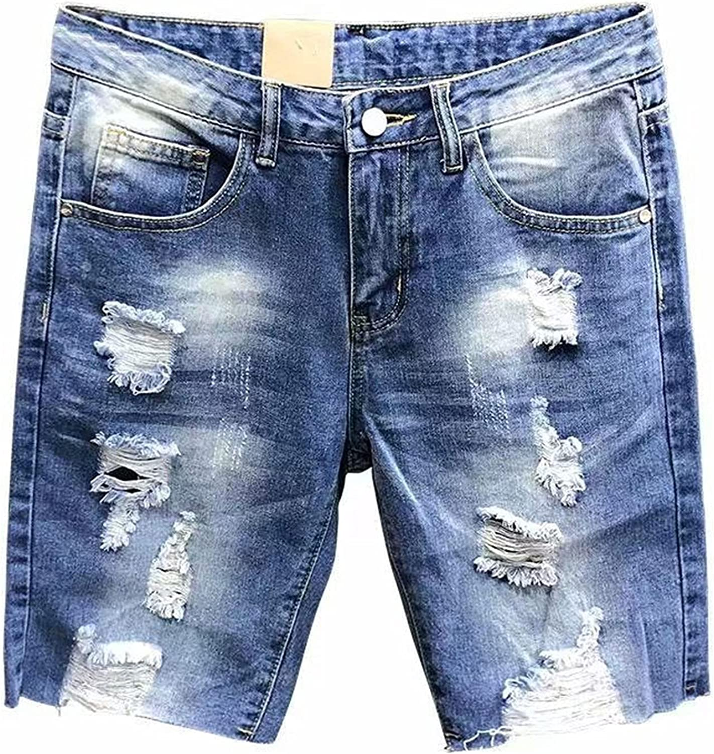 Denim Shorts for Men,Kcocoo Stretchy Frayed Raw Hem Pants Distressed Relaxed Fit Casual Comfortable Sweatpants with Pockets