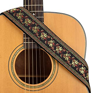 CLOUDMUSIC Guitar Strap Jacquard Weave Strap With Leather Ends Vintage Classical Pattern Design Guitar Picks Free (Vintage Black and Red)