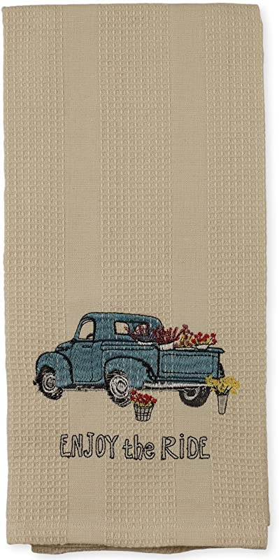 Beige Enjoy The Ride Blue Vintage Truck 19 X 28 Inch Embroidered Cotton Waffle Dish Towel