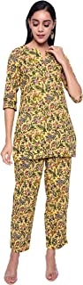 NYPA Women Printed Night Suit(Yellow)::Size(S to 5XL)