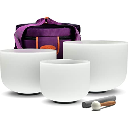 TOPFUND 6-14 inch Chakra Tuned Set of 5 Crystal Singing Bowls with Heavy Duty Carrying Cases and Singing Bowls Mallets