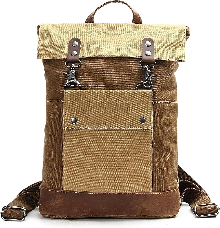 Bvane Canvas Tasche Ruckscke Daypack Freizeitrucksack Reiserucksack Retro-Rucksack Laptoptasche (Braun)