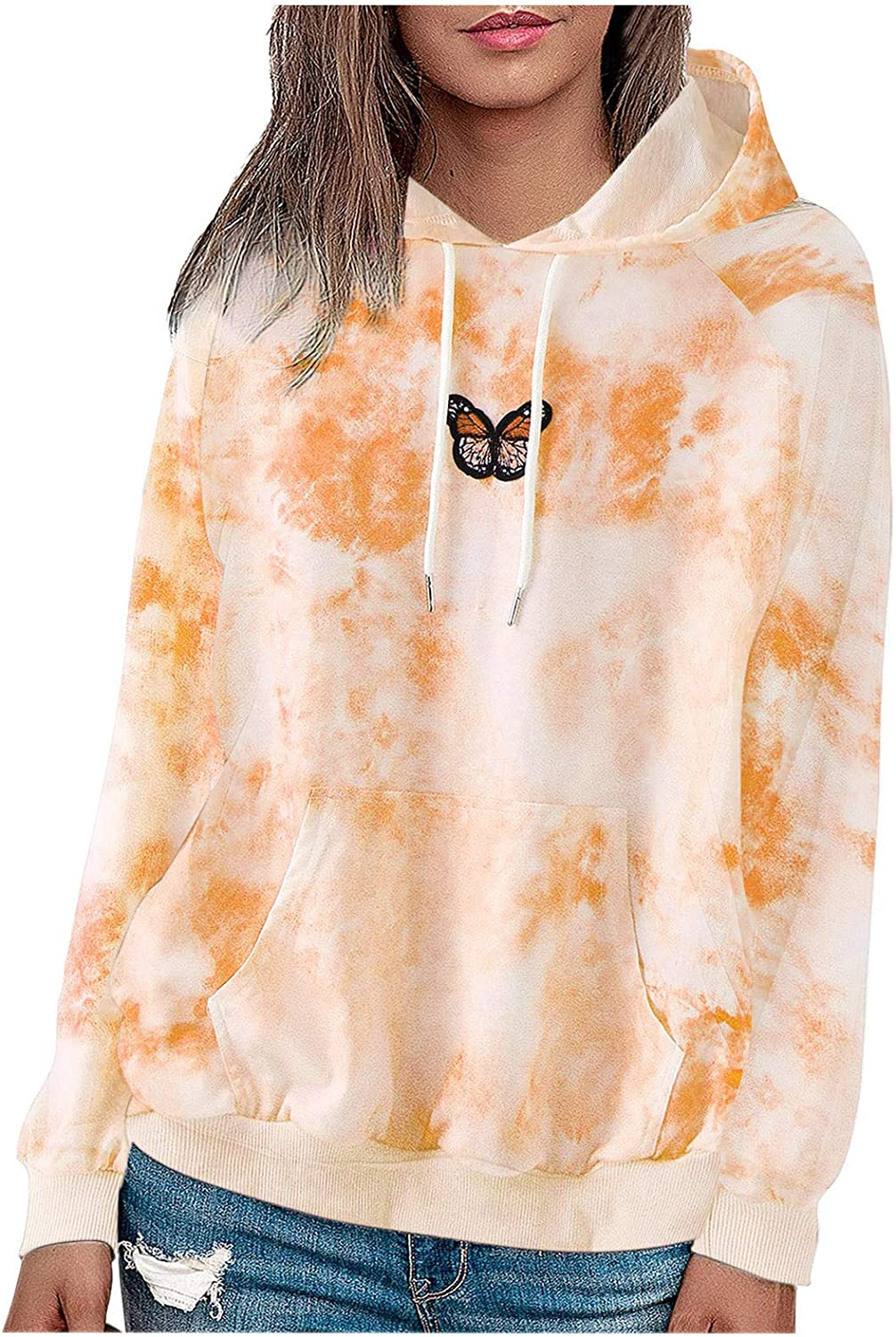 Jaqqra Hoodies for Women Plus Size Pullover Butterfly Print Long Sleeve Drawstring Hoodie Tops Oversized Sweatshirts