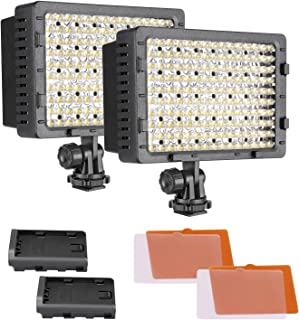 Neewer 2-Pack Dimmable 216 LED Video Light with 4 Color Filters White and Orange for Canon, Nikon, Pentax, Panasonic, Sony, Samsung and Olympus DSLR Cameras Camcorders