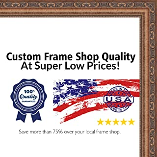 Poster Palooza 6x9 Traditional Antique Gold Wood Picture Frame - UV Acrylic, Foam Board Backing, Hanging Hardware Included!