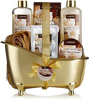 Home Spa Gift Basket, Luxury 13 Piece Bath & Body Set For Men & Women, White Rose & Jasmine Fragrance with Shower Gel, Bub...