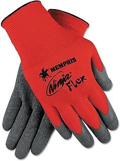 Memphis N9680S Ninja Flex Latex-Coated Palm Gloves N9680M Small Red/Gray