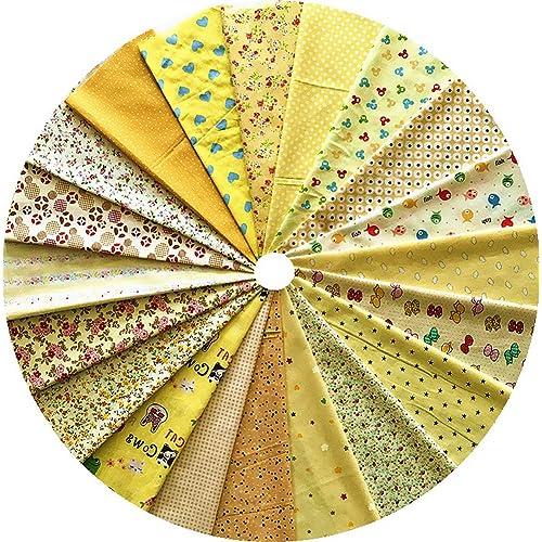 Grannycrafts 20 Pièce 20x30cm Textile Tissu Patchwork Coton Diy Artisanat Couture Scrapbooking Quilting pour Loisirs Créatifs Série Jaune
