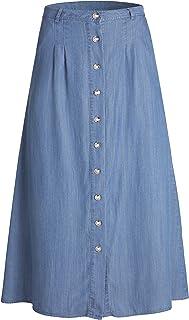 Tronjori Womens A Line Maxi Long Lightweight Tencel Denim Tiered Skirt with Multi Layers