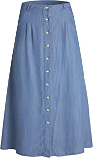 Womens A Line Long Lightweight Tencel Denim Tiered Skirt with Multi Layers