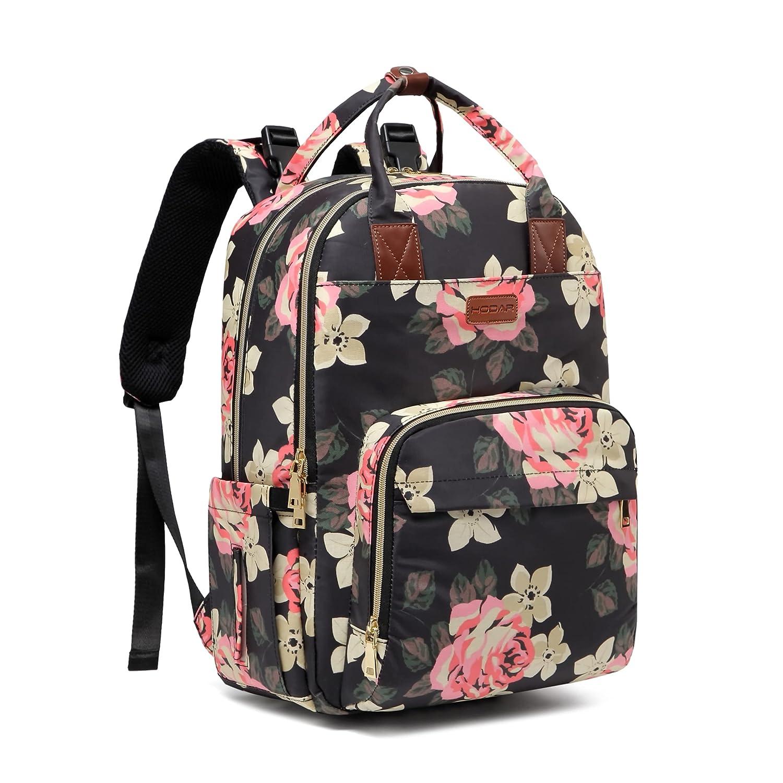 Diaper Bag Backpack, Baby Diaper Bag Large Capacity Floral Diaper Backpack for Baby Girl and Mom, Multi-Function Waterproof Travel Back Pack Built-in USB Charging Port