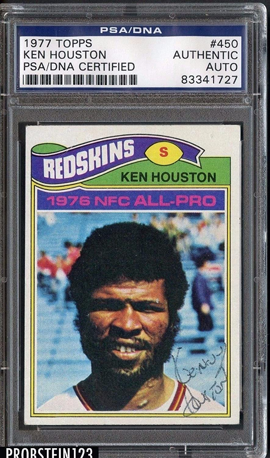 1977 Topps  450 Ken Houston Washington Red Skins Signed AUTO Authentic  PSA DNA Certified  Hockey Slabbed Autographed Cards