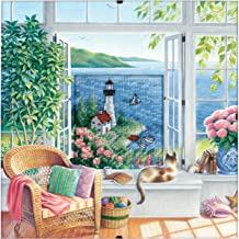 Dimensions Counted Cross Stitch Kit 'Beach Tranquility', 16 Count Blue Aida, 8