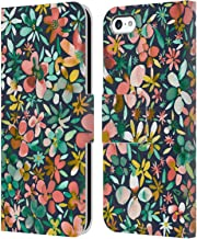 Official Ninola Colourful Petals Green Floral Leather Book Wallet Case Cover Compatible for iPhone 5c