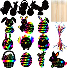 30 PCS Easter Rainbow Magic Scratch Art Ornaments - Easter Crafts Kit for Kids - Easter Eggs Bunny Chick Hanging Ornaments...