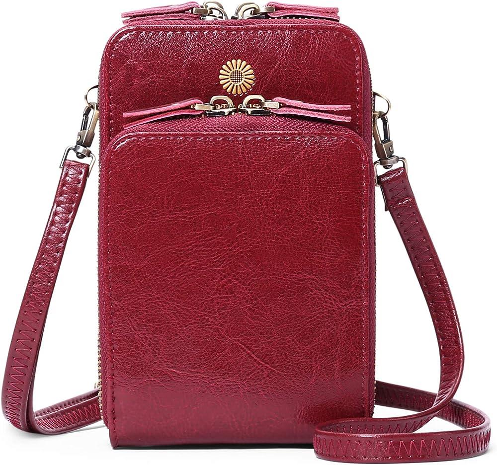 Sendefn borsa portafoglio porta carte di credito porta cellulare a tracolla in pelle per donna 6426C