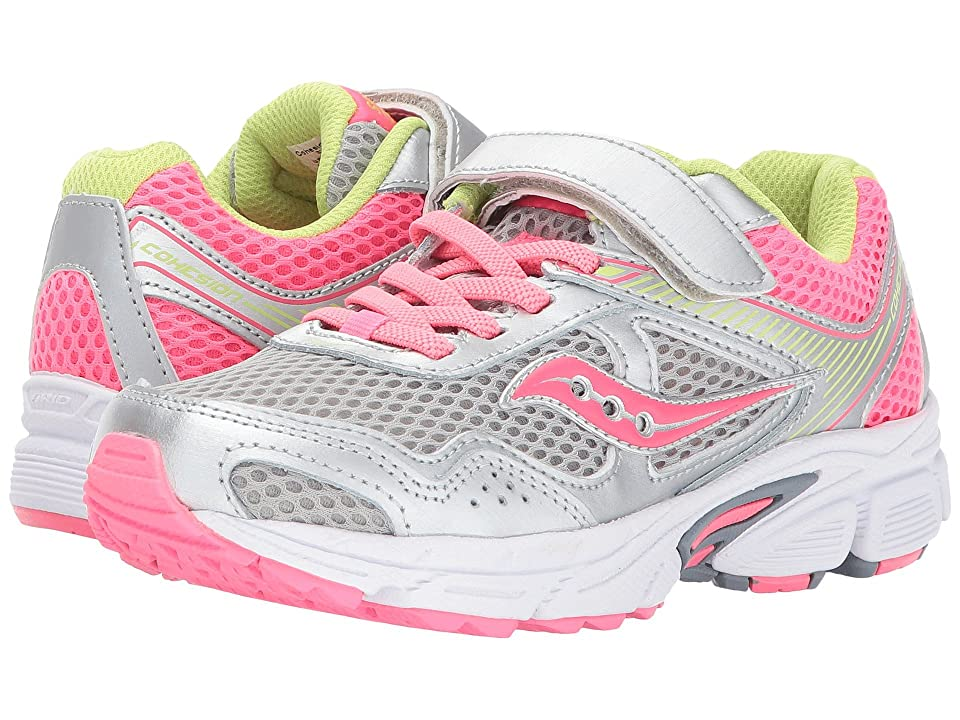 Saucony Kids Cohesion 10 A/C (Little Kid/Big Kid) (Grey/Coral) Girls Shoes