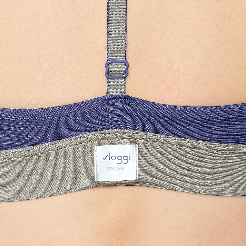 SLOGGI Women Move Flow Bralette Femmes Soutien-Gorge-Top en sportifs Fit Bleu Nouveau