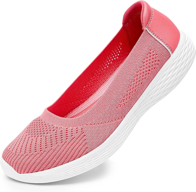 Puxowe Women's Slip on Loafers Lightweight Low-Top Flat Knit Sho
