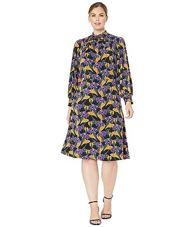 Adrianna Papell Plus Size Leafy Hearts Mock Neck Dress (Black Multi) Women
