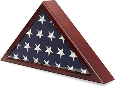 Juvale American Flag Case for Veteran Burial with Cherry Finish, 25 x 3.5 x 12.5 Inches