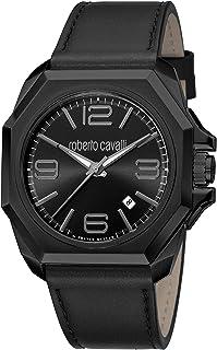 ROBERTO CAVALLI Men's RC-81 Stainless Steel Swiss Quartz Watch with Leather Calfskin Strap, Black, 24 (Model: RV1G076L0026)