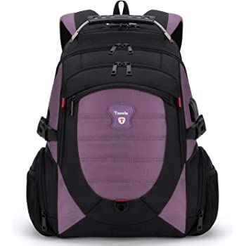 Tzowla Travel Laptop Backpack,Anti-Theft Water Resistant Business Luggage with TSA Lock&USB Charging Port Friendly Computer Cooler Daypack for Men Women College School Bag Fit 16/17inch Laptop(Purple)