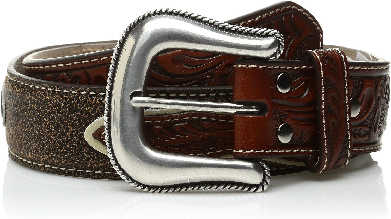 Nocona Boys Cowboy Prayer Buckle Belt 22 Medium Brown Distressed