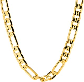 Gold Figaro Chain 7MM Fashion Jewelry Necklaces, 24K Overlay, Resists Tarnishing, Guaranteed for Life, 18-36 Inches