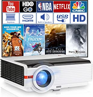 WXGA LCD HD Projector 5000 Lumens Multimedia LED Home Cinema Video Projectors Support 1080p Indoor Outdoor Movie Game TV w...
