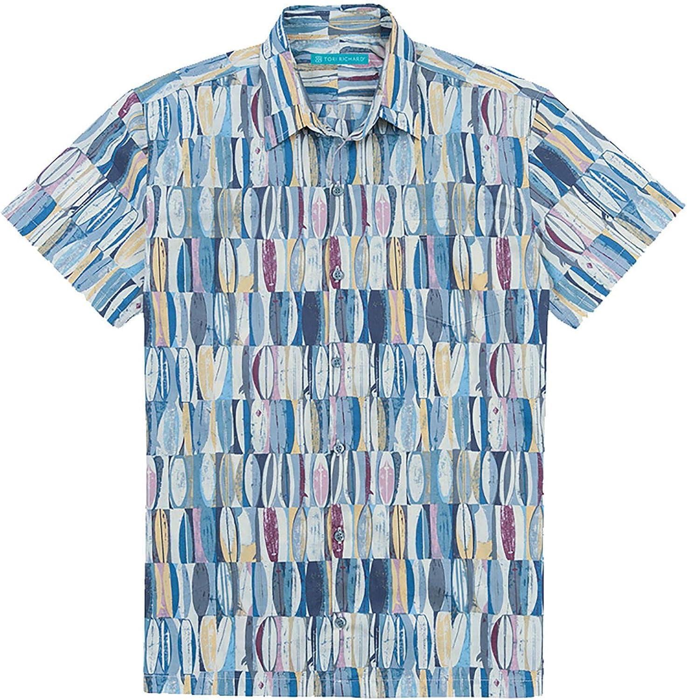 Tori Richard Big & Tall Board Room Camp Shirt - Ocean Blue