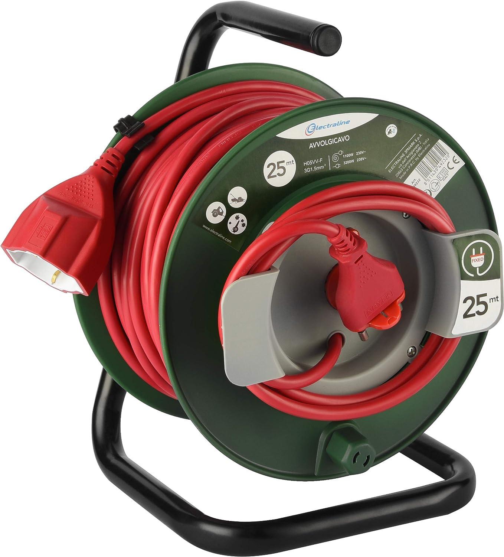 Electraline 49232 Kabeltrommel Mit Stecker Universal Passend Für Geräte Von Gartenarbeit Thermoschutz 25 Mt Kabelquerschnitt 3 G1 5 Mm Baumarkt