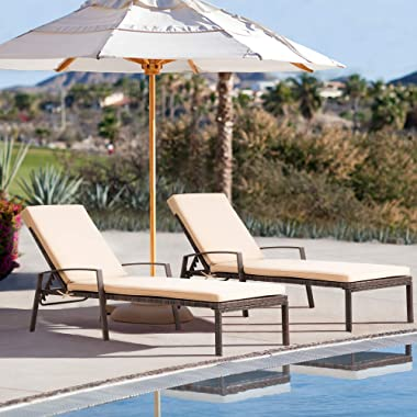 Pamapic Patio Lounge Chair Set 2 Pieces, Patio Chaise Lounges with Thickened Cushion, PE Rattan Steel Frame Pool Lounge Chair