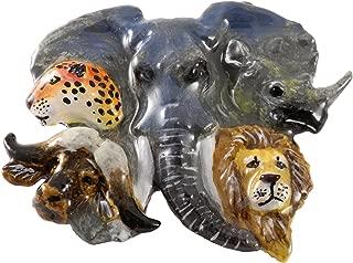 Africa Elephant Lion Buffalo Rhino Cheetah Heads Premium Mammal Pewter Lapel Pin, Brooch, Jewelry, M120PR