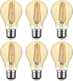 SD LUX LED Light Bulb Base Classic A Lamp E27 Amber Glass, 8 W 806 Lumen Filament Lamps, Replaces 75 W Filament Bulb, 2700...