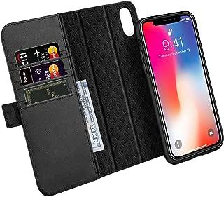 iPhone XS ケース iPhone X ケース 手帳型 分離型 本革 RFIDブロッキング オートスリープ機能 サイドマグネット式 取り外し カバー 全面保護 スタンド機能 カード収納 耐汚れ 耐衝撃 財布型 ギフトボックス アイフォンXS/X 兼用(5.8インチ用 ブラック)Black