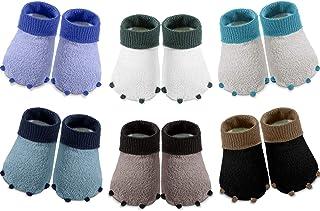 SATINIOR, 6 Pares Calcetines de Bebé Recién Nacido Cálido de Animal Lindo Calcetines Borrosos en Forma de Pata para Bebé (6-12 meses)