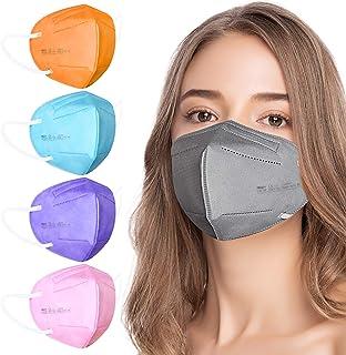 AHOTOP FFP2 Masken Bunt FFP2 Maske CE Zertifiziert 5 Farben 20 Stück, FFP2 Maske Grau, Blau, Rosa, Lila, Orange, Gesichtsm...