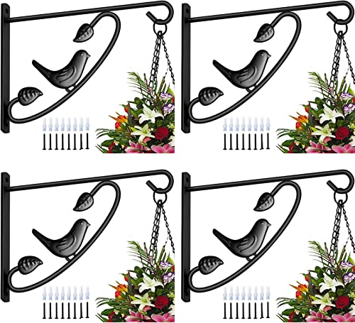 Amagabeli 4 Pack Plants Bracket Hanger 12in Hanging Planter Hooks Baskets Flower Pot Bird Feeder Wind Chimes for Outd...
