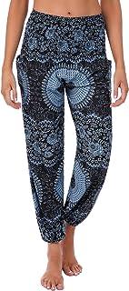 Irevial Pantalon Hippies muje Harem Cintura Alta Pantalones de stampados Bohemio Baggy Deportivos Chandal Tallas Grandes Yoga Deportivos Pants Verano