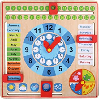 Pidoko Kids All About Today Calendar Board - My First Clock - Preschool Educational & Learning Wooden Toy | Gifts for Todd...